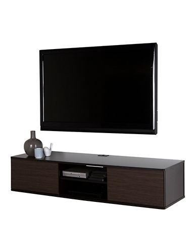 South Shore Agora Wide Wall Mounted Media Console-CHOCOLATE-One Size