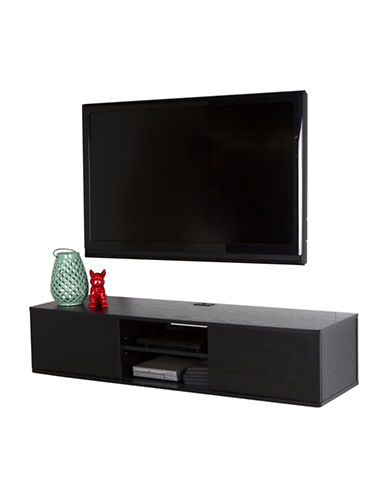 South Shore Agora Wide Wall Mounted Media Console-BLACK OAK-One Size
