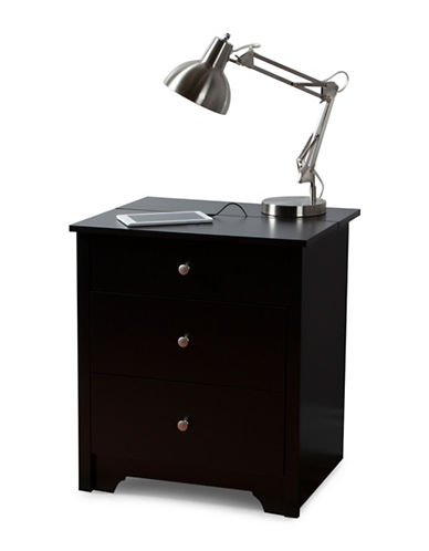 South Shore Vito Nightstand with Charging Station and Drawers-PURE BLACK-One Size