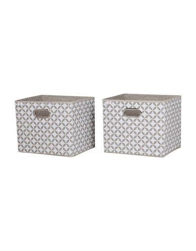 South Shore Storit Two-Pack Fabric Storage Baskets with Pattern-TAUPE/WHITE-One Size