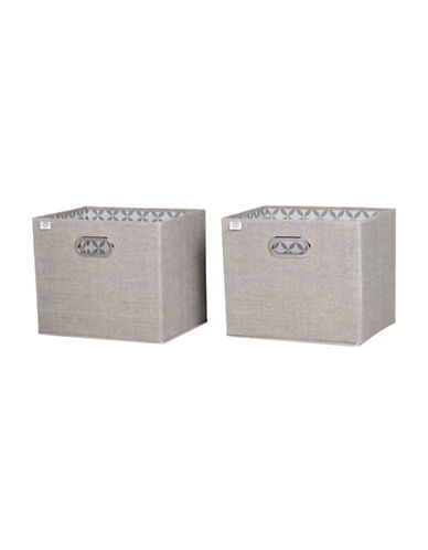 South Shore Storit Two-Pack Fabric Storage Baskets with Pattern-TAUPE-One Size