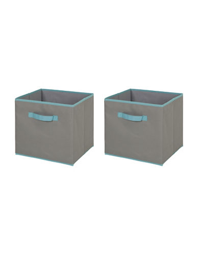 South Shore Crea Two-Pack Fabric Storage Bins-GREY-Large