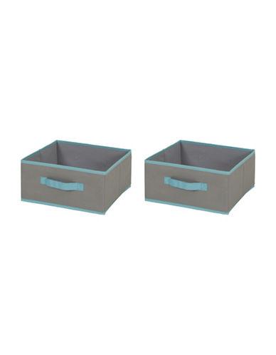 South Shore Crea Two-Pack Fabric Storage Bins-GREY-Medium