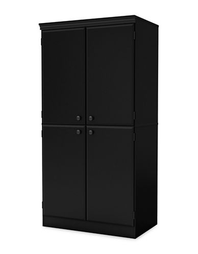 South Shore Morgan Four-Door Armoire-PURE BLACK-One Size