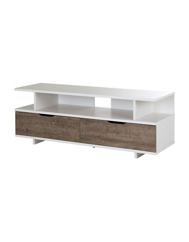South Shore Reflekt TV Stand with Drawers-BROWN/WHITE-One Size