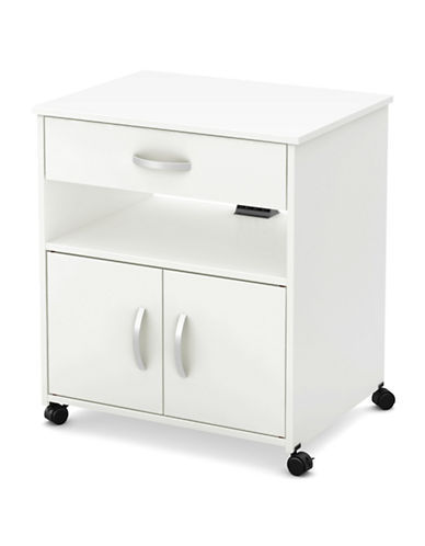 South Shore Axess Two-Door Microwave Cart-PURE WHITE-One Size