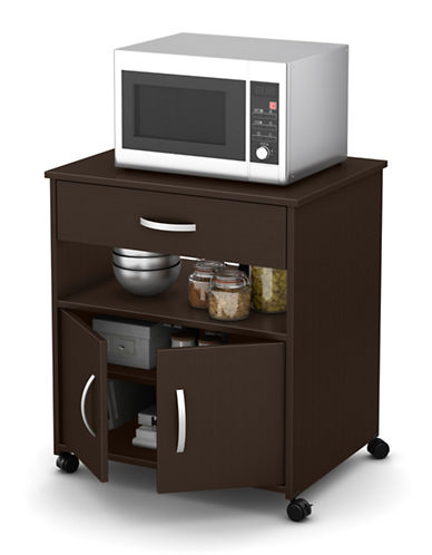 South Shore Axess Two-Door Microwave Cart-CHOCOLATE-One Size