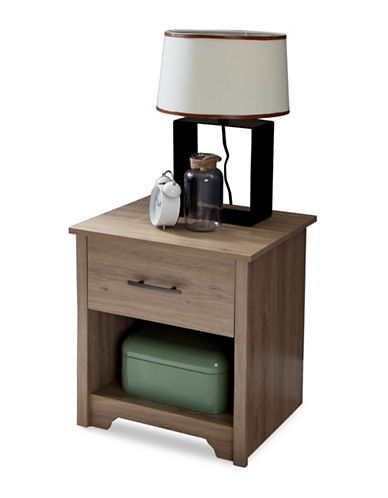 South Shore Fusion One-Drawer Nightstand-RUSTIC OAK-One Size