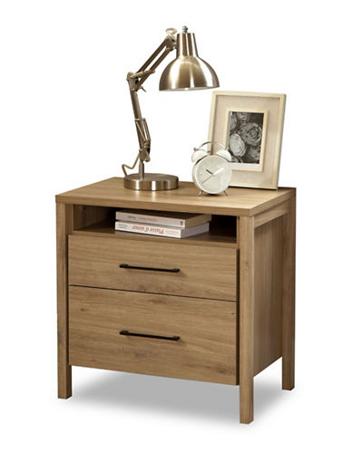 South Shore Gravity Two-Drawer Nightstand-RUSTIC OAK-One Size