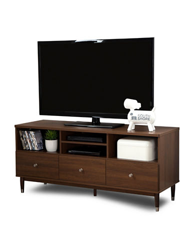 South Shore Olly TV Stand with Drawers-BROWN WALNUT-One Size