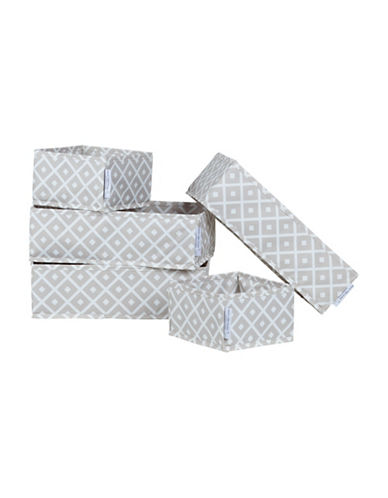 South Shore Storit Five-Pack Canvas Drawer Organizers with Pattern-GREY-One Size