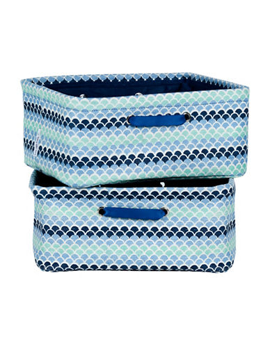 South Shore Storit Two-Pack Nightstand Baskets with Chambray and Scales Pattern-BLUE PRINT-One Size