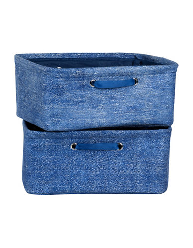 South Shore Storit Two-Pack Nightstand Baskets with Chambray and Scales Pattern-BLUE-One Size