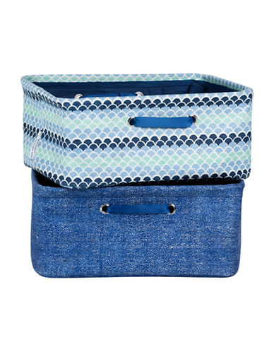 South Shore Storit Two-Pack Nightstand Baskets with Chambray and Scales Pattern-BLUE COMBO-One Size