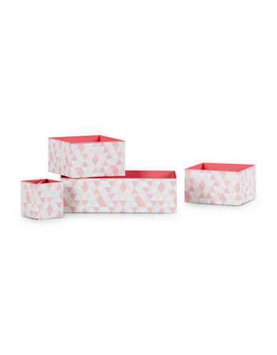 South Shore Storit Printed Cardboard Boxes and Pencil Cup Four-Piece Set-WHITE/PINK-One Size