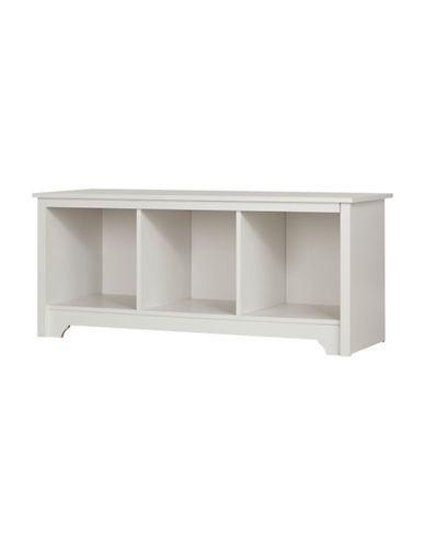 South Shore Vito Cubby Storage Bench-PURE WHITE-One Size
