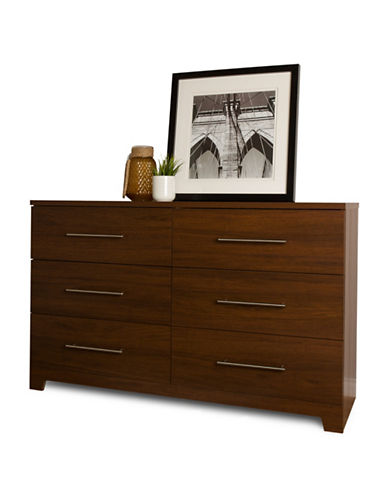South Shore Primo Six-Drawer Double Dresser-BROWN WALNUT-One Size