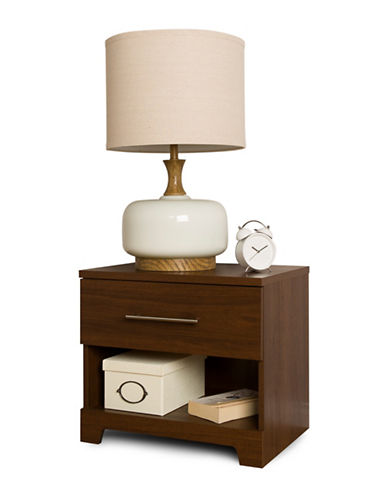 South Shore Primo One-Drawer Nightstand-BROWN WALNUT-One Size