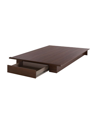 South Shore Primo Full and Queen Platform Bed-BROWN WALNUT-Double/Queen