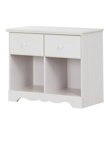 South Shore Summer Breeze Two-Drawer Double Nightstand-WHITE WASH-One Size