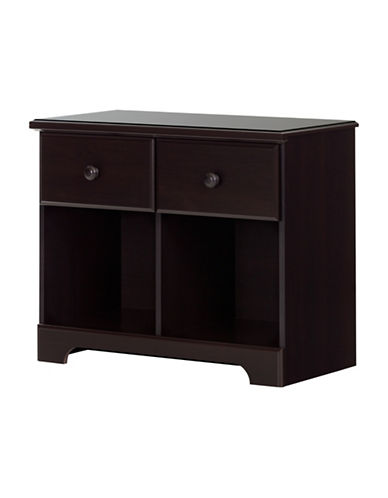 South Shore Summer Breeze Two-Drawer Double Nightstand-CHOCOLATE-One Size