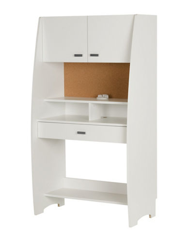 South Shore Reevo Desk with Hutch and Storage-PURE WHITE-One Size