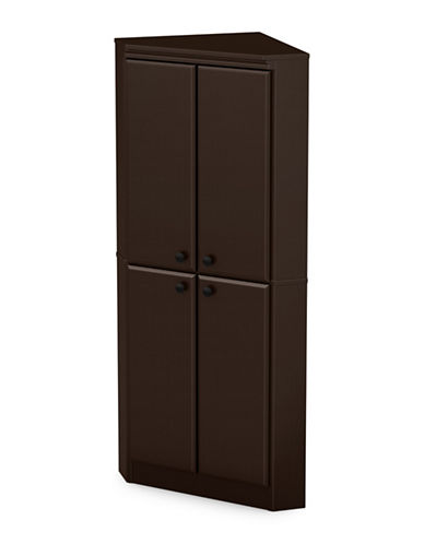 South Shore Morgan Four-Door Corner Armoire-CHOCOLATE-One Size