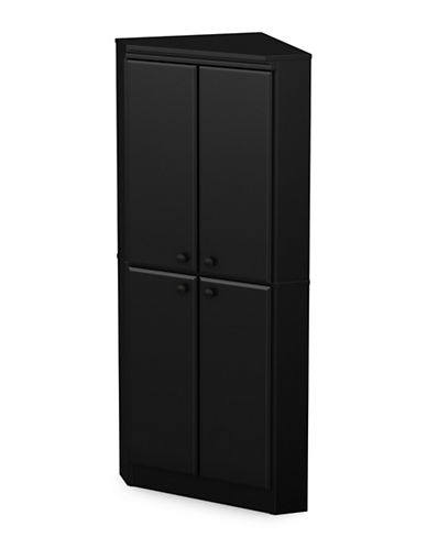 South Shore Morgan Four-Door Corner Armoire-PURE BLACK-One Size