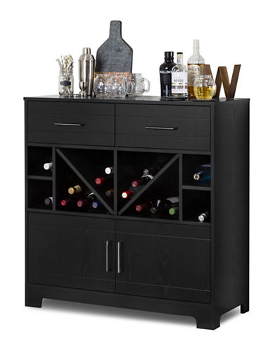 South Shore Vietti Bar Cabinet with Bottle Storage and Drawers-BLACK OAK-One Size