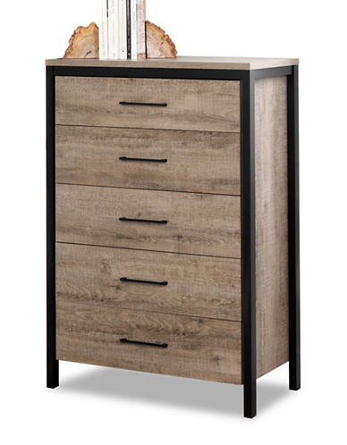South Shore Munich Five-Drawer Chest - Weathered Oak and Matte Black-WEATHERED OAK-One Size
