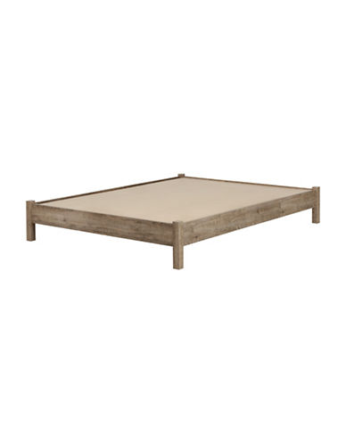 South Shore Munich Queen Platform Bed 60-Inch on Legs - Weathered Oak and Matte Black-WEATHERED OAK-Queen