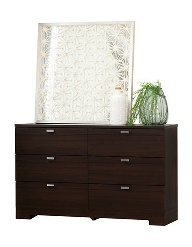 South Shore Reevo Six-Drawer Double Dresser-MATTE BROWN-One Size