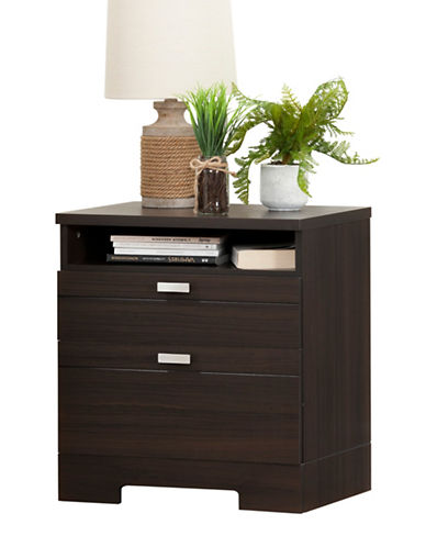 South Shore Reevo Nightstand with Drawers and Cord Catcher-MATTE BROWN-One Size