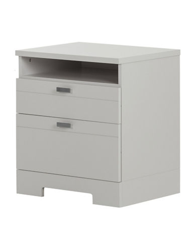South Shore Reevo Nightstand with Drawers and Cord Catcher-SOFT GREY-One Size