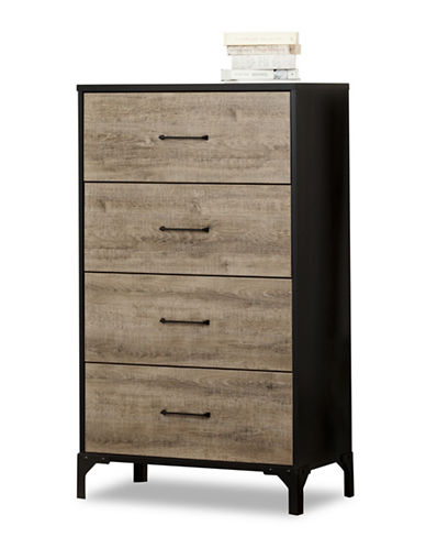 South Shore Valet Four-Drawer Chest-WEATHERED OAK AND EBONY-One Size