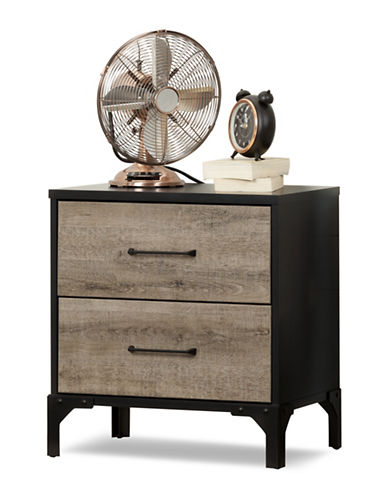 South Shore Valet Two-Drawer Nightstand-WEATHERED OAK AND EBONY-One Size