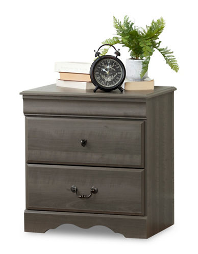 South Shore Vintage Two-Drawer Nightstand-GREY MAPLE-One Size