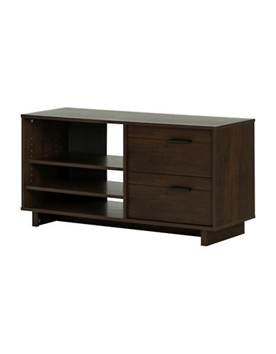 South Shore Fynn TV Stand with Drawers-BROWN OAK-One Size
