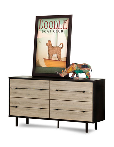 South Shore Morice Mid-Century Modern Four-Drawer Double Dresser-RUSTIC OAK-One Size