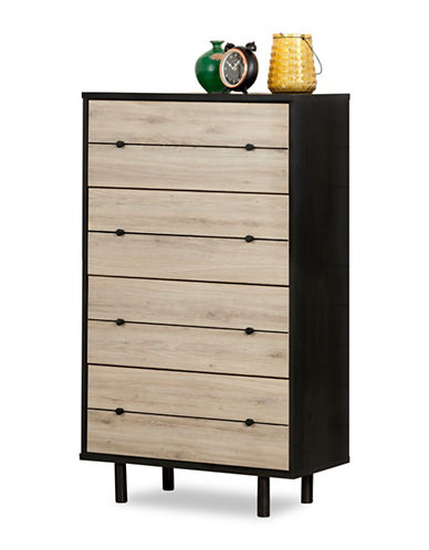 South Shore Morice Mid-Century Modern Four-Drawer Chest-RUSTIC OAK-One Size
