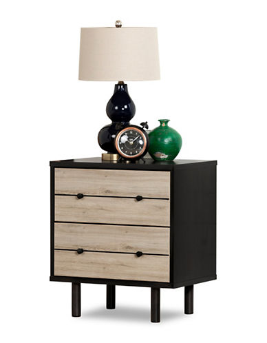 South Shore Morice Mid-Century Modern Two-Drawer Nightstand-RUSTIC OAK-One Size