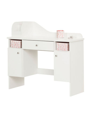 South Shore Vito Pure White Makeup Desk with Drawer-PURE WHITE-One Size