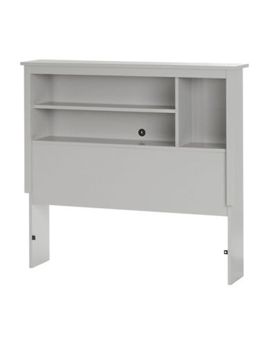 South Shore Reevo Twin Bookcase Headboard-SOFT GREY-Twin