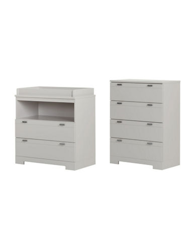 South Shore Reevo Changing Table and Four-Drawer Chest Set-SOFT GRAY-One Size