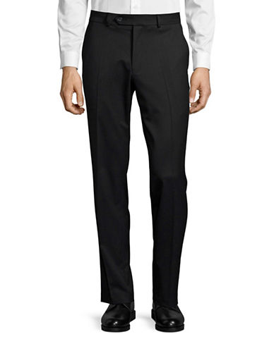 Black Brown 1826 Wool Blend Modern Fit Trousers-BLACK-34X32