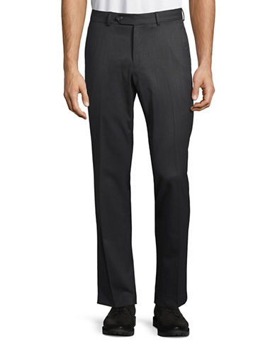 Black Brown 1826 Wool Blend Modern Fit Trousers-GREY-40X30
