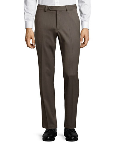 Black Brown 1826 Wool Blend Modern Fit Trousers-BEIGE-30X32