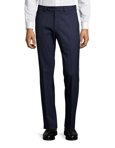 Black Brown 1826 Wool Blend Modern Fit Trousers-BLUE-34X32