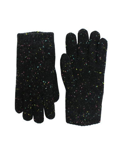 Fits Speckle Wool Blend Knitted Gloves-BLACK-8-16