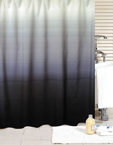 Moda Striped Ombre Shower Curtain-CHARCOAL-One Size